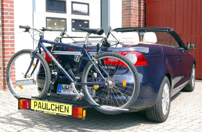 Volkswagen EOS Bike carrier with comfort load extension and loaded bike. Without trailer hitch!