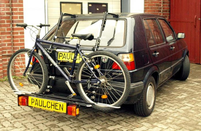 Volkswagen Golf II (1G1) Bike carrier with comfort load extension and loaded bike. Without trailer hitch!