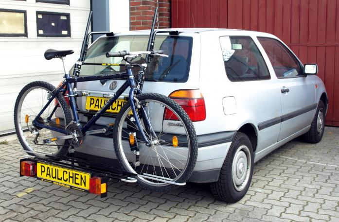 Volkswagen Golf III (1H1) Bike carrier with comfort load extension and loaded bike. Without trailer hitch!