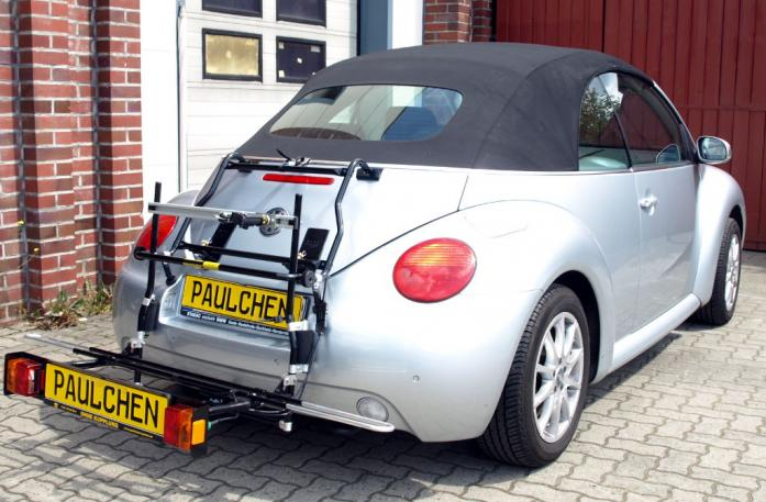 Volkswagen New Beetle Cabrio Bike carrier with comfort load extension in loading position. Without trailer hitch!