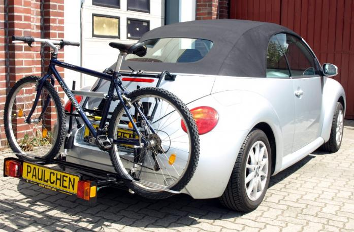 Volkswagen New Beetle Cabrio Bike carrier with comfort load extension and loaded bike. Without trailer hitch!