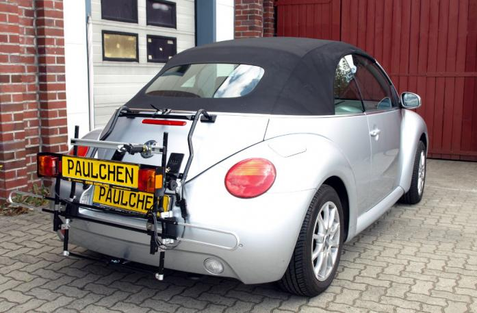 Volkswagen New Beetle Cabrio Bike carrier with comfort load extension in standby position. Without trailer hitch!