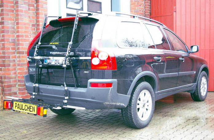 Volvo XC 90 Bike carrier with comfort load extension in loading position. Without trailer hitch!