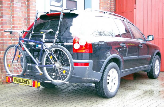 Volvo XC 90 Bike carrier with comfort load extension and loaded bike. Without trailer hitch!