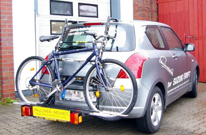 Suzuki Swift (MZ, EZ) Bike carrier with comfort load extension and loaded bike. Without trailer hitch!