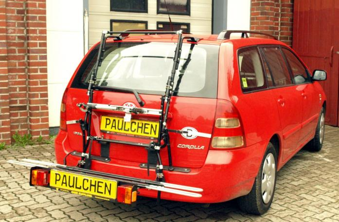 Toyota Corolla Combi (E12) Bike carrier with comfort load extension in loading position. Without trailer hitch!