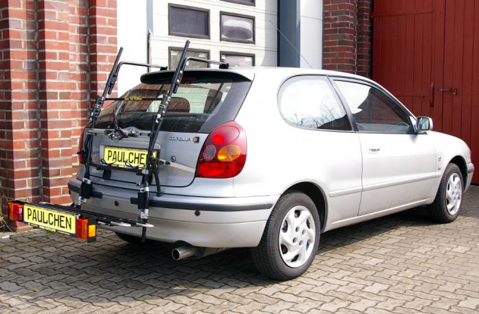Toyota Corolla Compact (E11) Bike carrier with comfort load extension in loading position. Without trailer hitch!