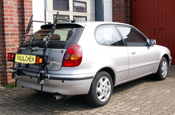 Toyota Corolla Compact (E11) Bike carrier with comfort load extension in standby position. Without trailer hitch!