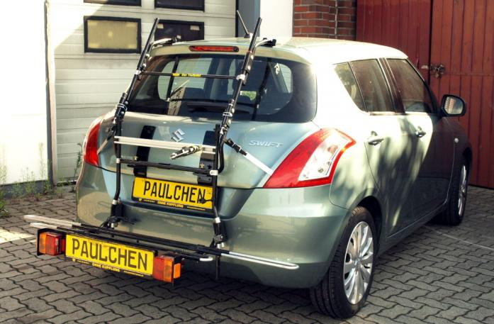 Suzuki Swift IV Bike carrier with comfort load extension in loading position. Without trailer hitch!