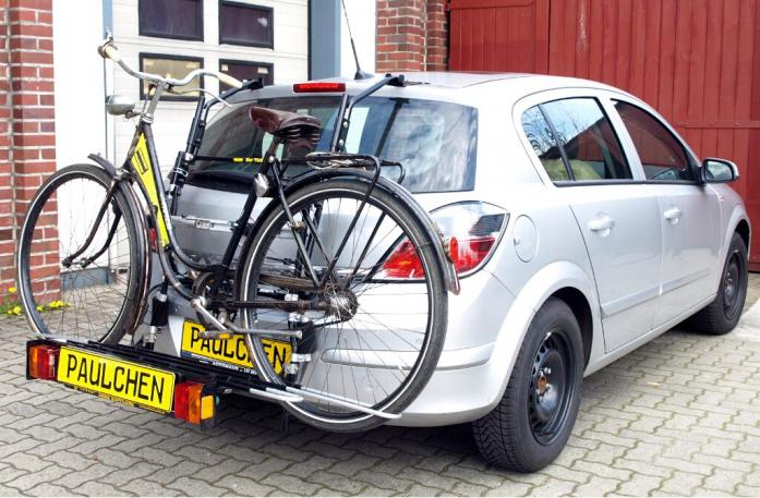 Opel Astra H Schrägheck Bike carrier with comfort load extension and loaded bike. Without trailer hitch!