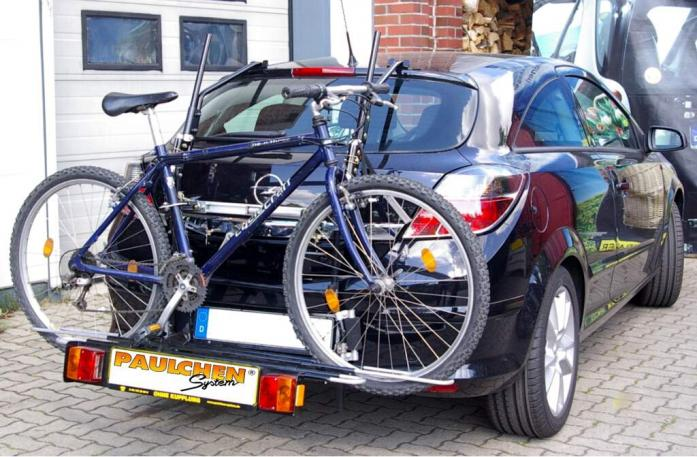 Opel Astra H Schrägheck GTC Bike carrier with comfort load extension and loaded bike. Without trailer hitch!