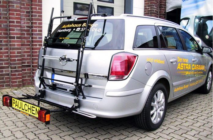 Opel Astra H Caravan Bike carrier with comfort load extension in loading position. Without trailer hitch!