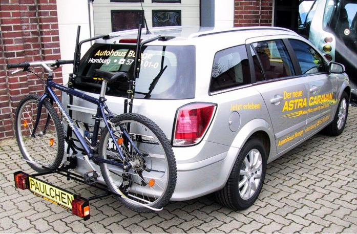 Opel Astra H Caravan Bike carrier with comfort load extension and loaded bike. Without trailer hitch!