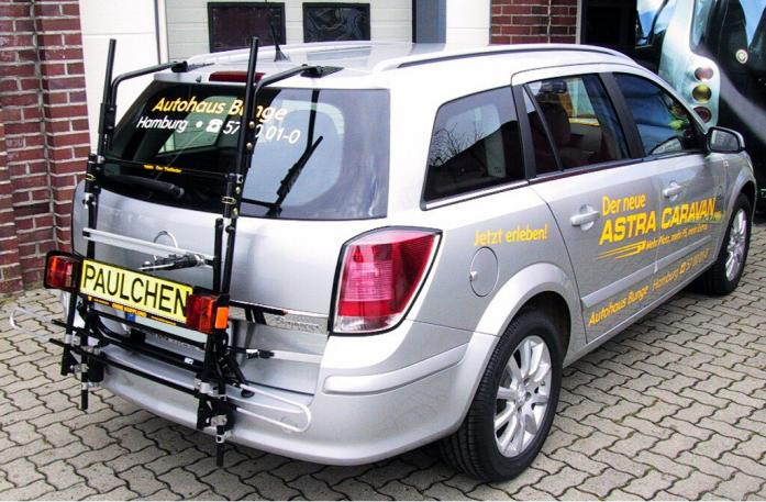 Opel Astra H Caravan Bike carrier with comfort load extension in standby position. Without trailer hitch!