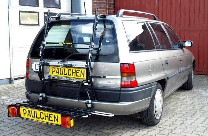Opel Astra F Caravan Bike carrier with comfort load extension in loading position. Without trailer hitch!
