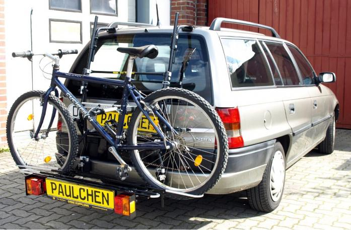 Opel Astra F Caravan Bike carrier with comfort load extension and loaded bike. Without trailer hitch!