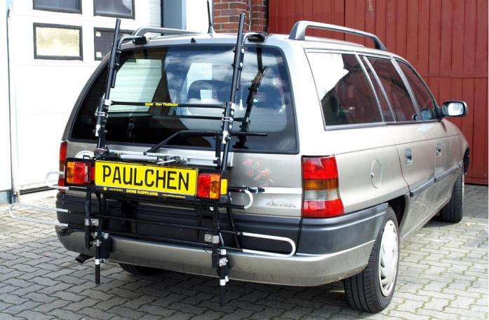 Opel Astra F Caravan Bike carrier with comfort load extension in standby position. Without trailer hitch!