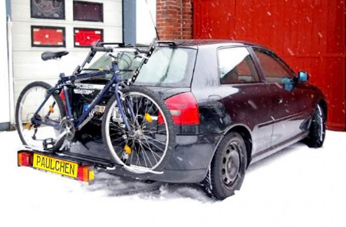 Audi A3 Bike carrier with comfort load extension and loaded bike. Without trailer hitch!