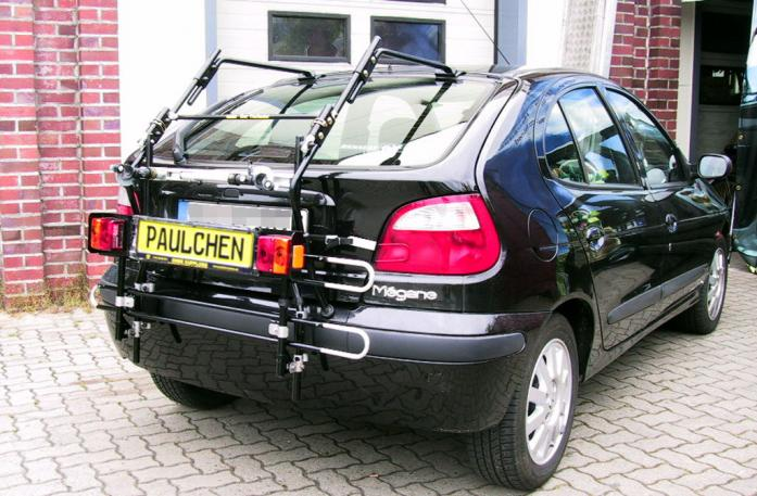 Renault Megane I Bike carrier with comfort load extension in standby position. Without trailer hitch!