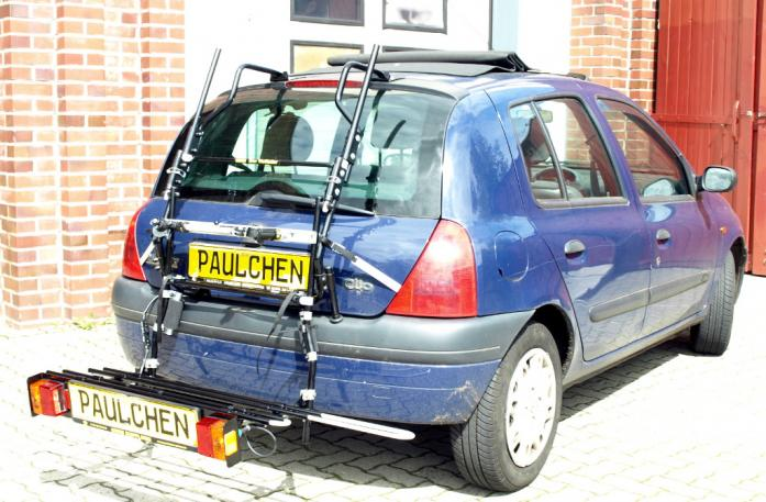 Renault Clio 2 (B) Bike carrier with comfort load extension in loading position. Without trailer hitch!