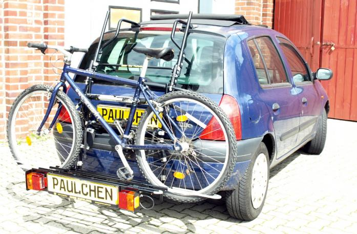 Renault Clio 2 (B) Bike carrier with comfort load extension and loaded bike. Without trailer hitch!