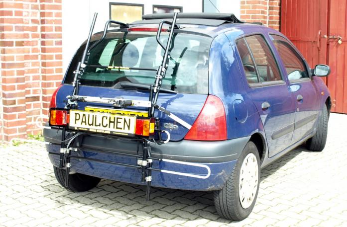 Renault Clio 2 (B) Bike carrier with comfort load extension in standby position. Without trailer hitch!
