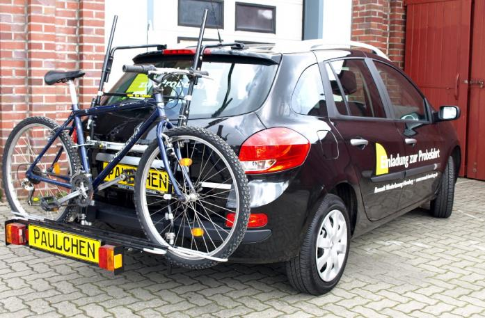 Renault Clio 3 Grandtour (R) Bike carrier with comfort load extension and loaded bike. Without trailer hitch!