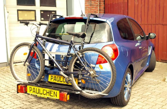 Renault Clio 3 RS (R) Bike carrier with comfort load extension and loaded bike. Without trailer hitch!