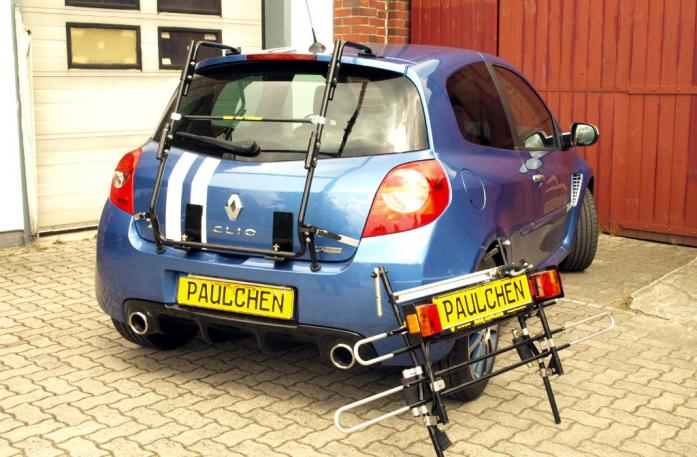 Renault Clio 3 RS (R) Bike carrier with separated comfort load extension.