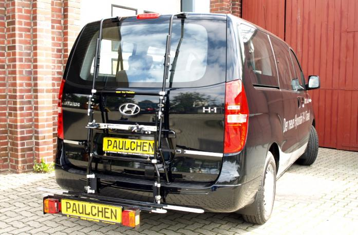 Hyundai H1 Travel (H1) Bike carrier with comfort load extension in loading position. Without trailer hitch!