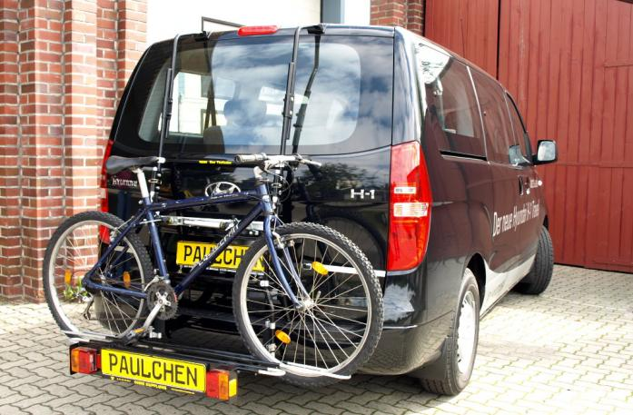 Hyundai H1 Travel (H1) Bike carrier with comfort load extension and loaded bike. Without trailer hitch!