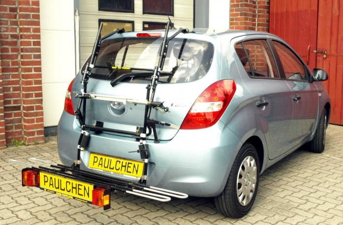 Hyundai i20 (PB) Bike carrier with comfort load extension in loading position. Without trailer hitch!