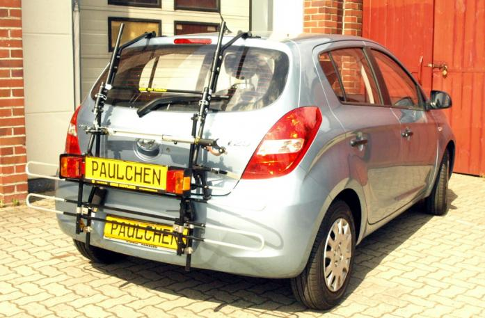 Hyundai i20 (PB) Bike carrier with comfort load extension in standby position. Without trailer hitch!