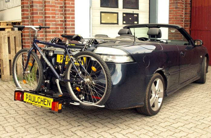 Saab 9-3 Cabrio (YS3F) Bike carrier with comfort load extension and loaded bike. Without trailer hitch!