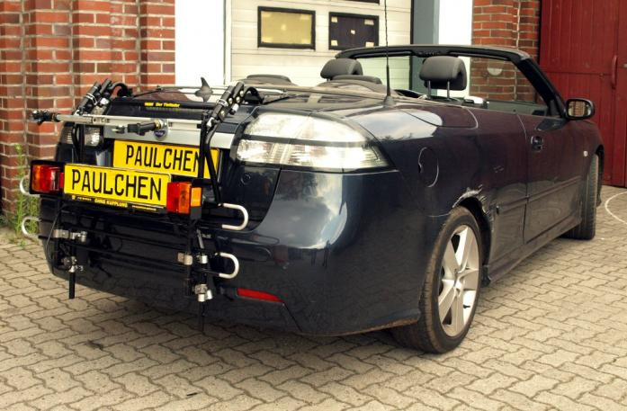 Saab 9-3 Cabrio (YS3F) Bike carrier with comfort load extension in standby position. Without trailer hitch!