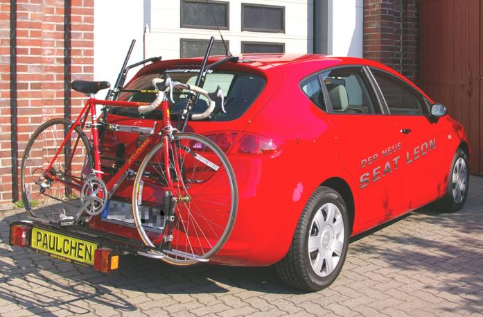 Seat Leon Bike carrier with comfort load extension and loaded bike. Without trailer hitch!