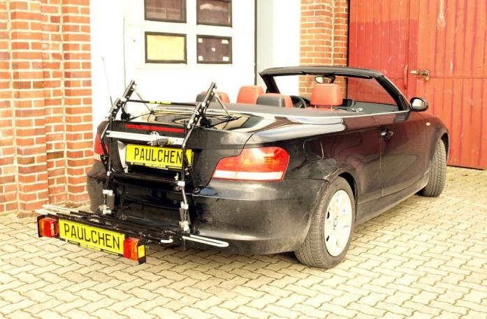 BMW 1er Cabrio Bike carrier with comfort load extension in loading position. Without trailer hitch!