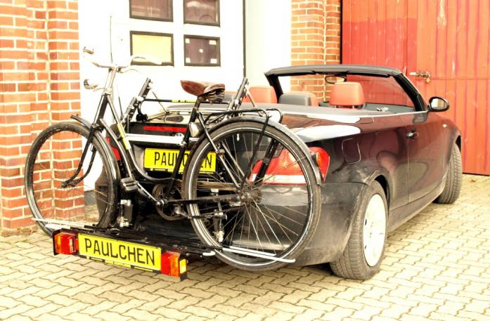 BMW 1er Cabrio Bike carrier with comfort load extension and loaded bike. Without trailer hitch!