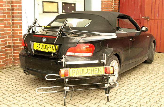BMW 1er Cabrio Bike carrier with separated comfort load extension.