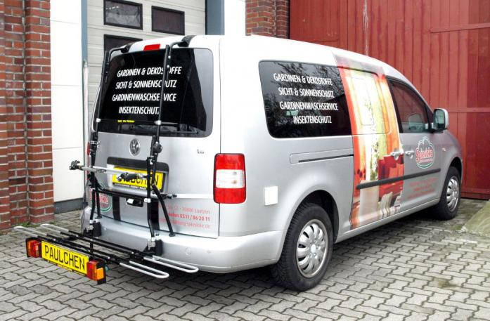 Volkswagen Caddy III Bike carrier with comfort load extension in loading position. Without trailer hitch!