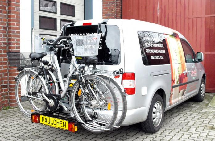 Volkswagen Caddy III Bike carrier with comfort load extension and loaded bike. Without trailer hitch!