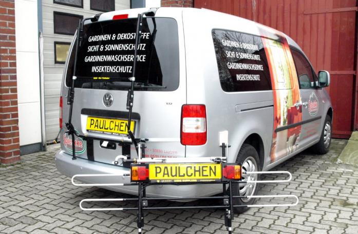 Volkswagen Caddy III Bike carrier with separated comfort load extension.
