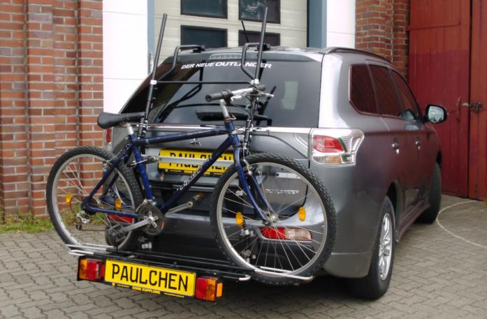 Mitsubishi Outlander III (CW0) Bike carrier with comfort load extension and loaded bike. Without trailer hitch!