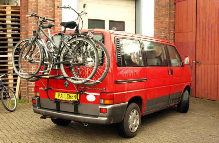 Volkswagen Bus T4 Bike carrier loaded with bike