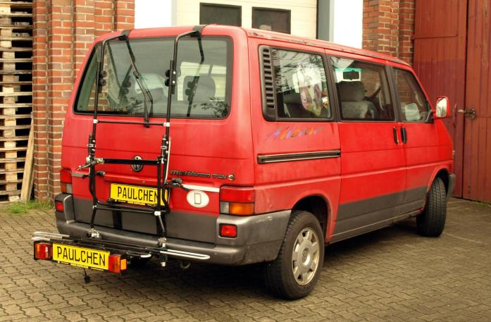 Volkswagen Bus T4 Bike carrier with comfort load extension in loading position. Without trailer hitch!