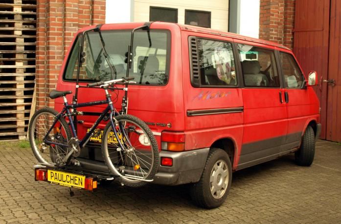 Volkswagen Bus T4 Bike carrier with comfort load extension and loaded bike. Without trailer hitch!