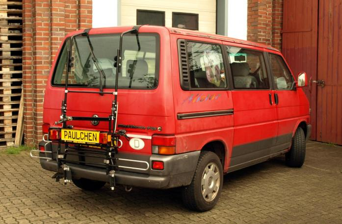 Volkswagen Bus T4 Bike carrier with comfort load extension in standby position. Without trailer hitch!