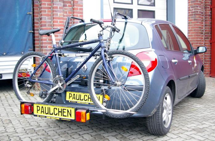 Renault Clio 3 (R) Bike carrier with comfort load extension and loaded bike. Without trailer hitch!