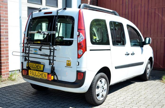 Renault Kangoo II Bike carrier with light bar in standby position
