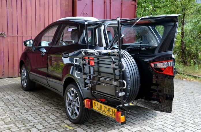 Ford Ecosport Bike carrier with open tailgate and mounted carrier